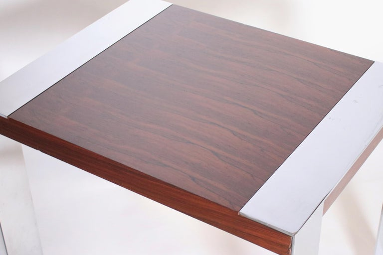 20th Century Milo Baughman Rosewood and Chrome Side Table For Sale