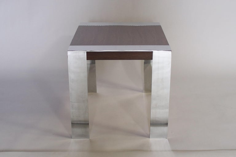 Milo Baughman Rosewood and Chrome Side Table For Sale 1