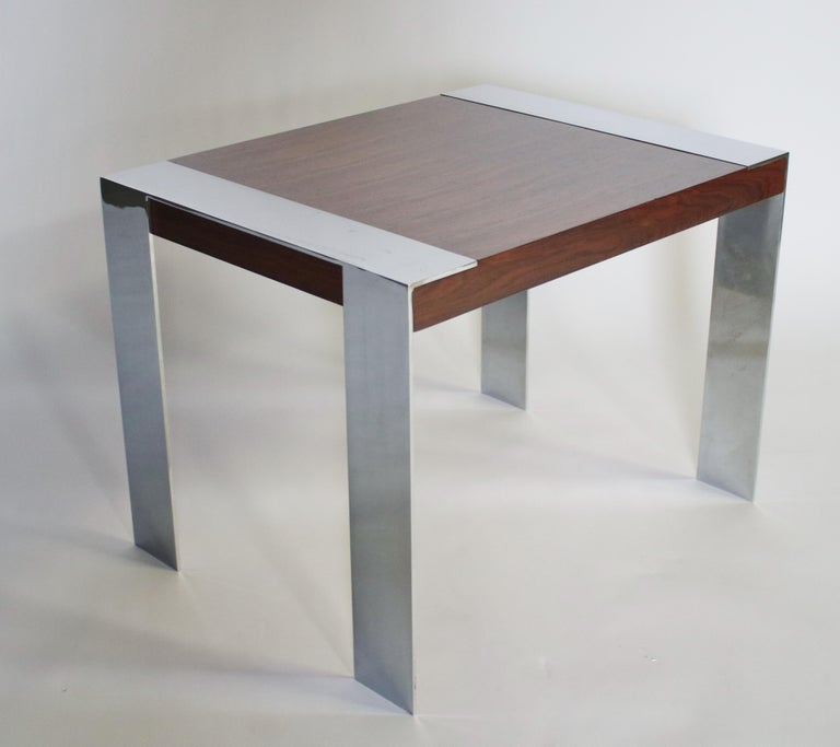 Milo Baughman Rosewood and Chrome Side Table For Sale 2