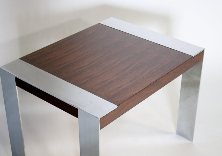 Milo Baughman Rosewood and Chrome Side Table For Sale 3