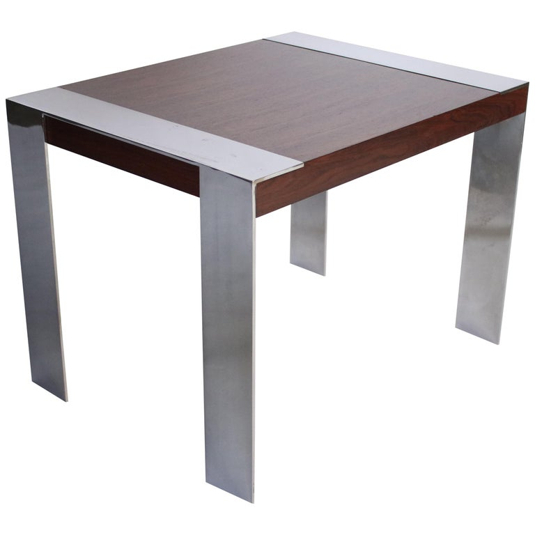 Milo Baughman Rosewood and Chrome Side Table For Sale