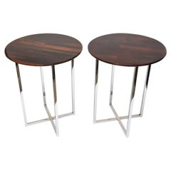 Milo Baughman Rosewood and Chrome Side Tables Vintage