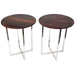 Milo Baughman Rosewood and Chrome Side Tables Vintage Pair of