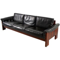 Milo Baughman Rosewood and Leather Case Sofa for Thayer Coggin