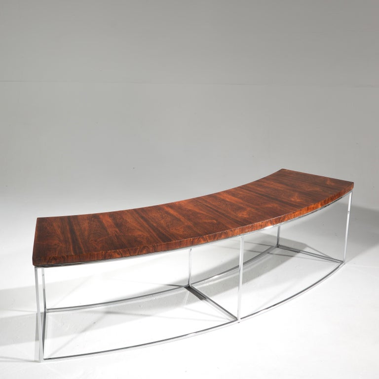 Milo Baughman Rosewood and Steel Circular Bench or Table For Sale 3