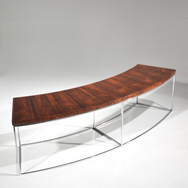 Milo Baughman Rosewood and Steel Circular Bench or Table For Sale 4