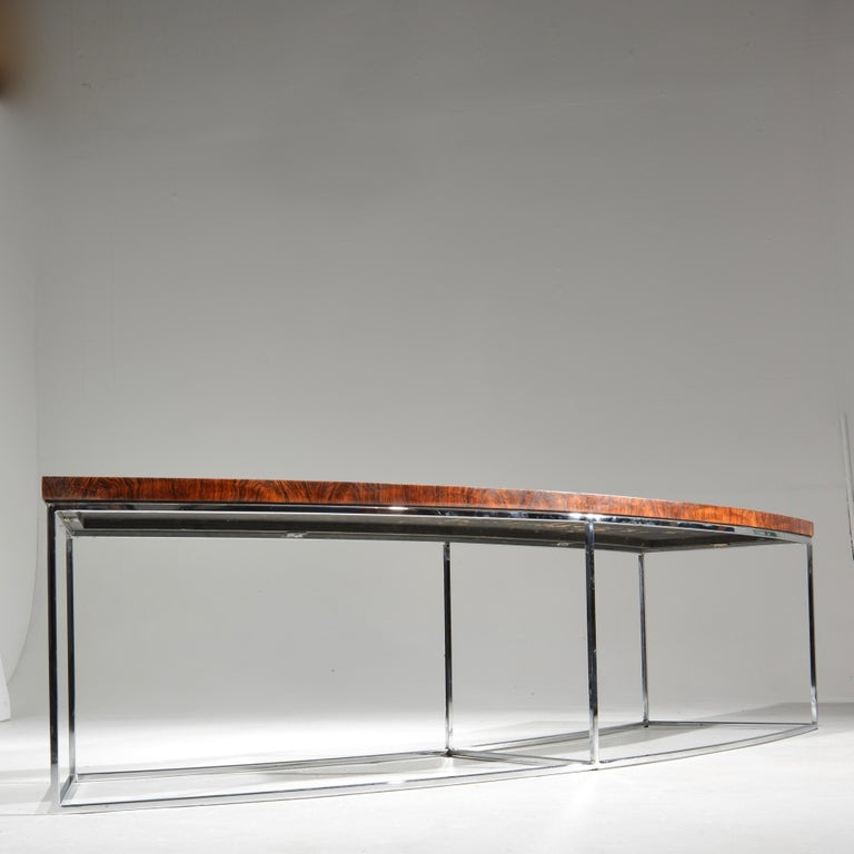 Milo Baughman Rosewood and Steel Circular Bench or Table For Sale 5