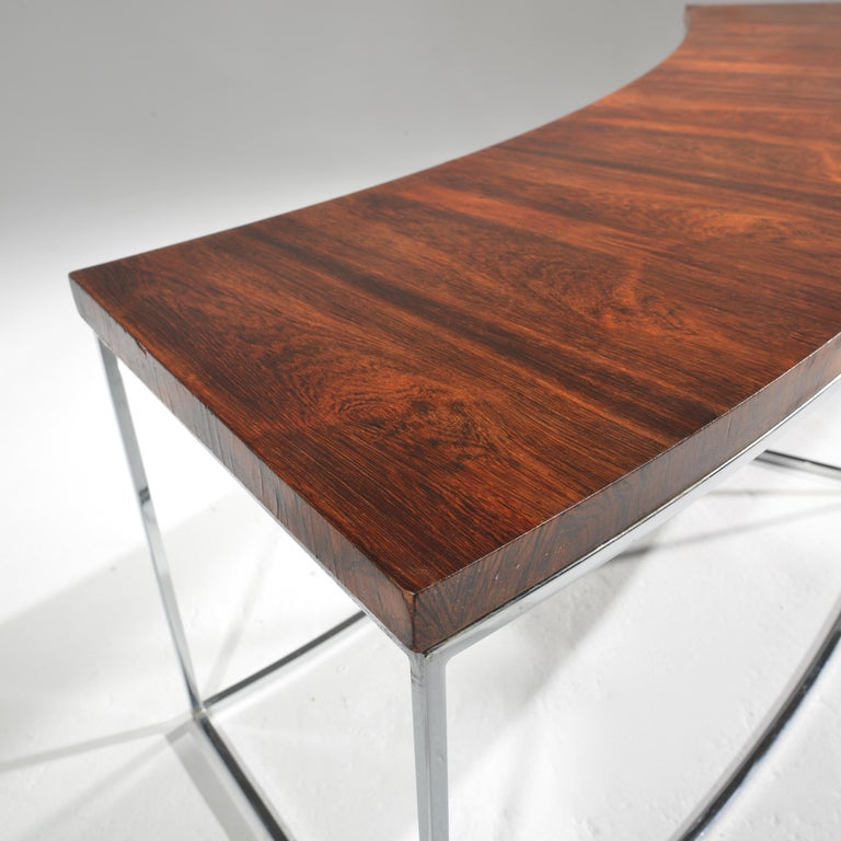 Milo Baughman Rosewood and Steel Circular Bench or Table For Sale 6