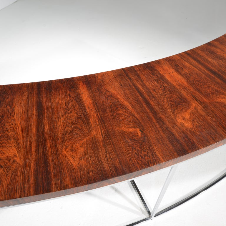 Milo Baughman Rosewood and Steel Circular Bench or Table For Sale 7