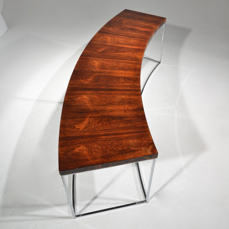 Modern Milo Baughman Rosewood and Steel Circular Bench or Table For Sale