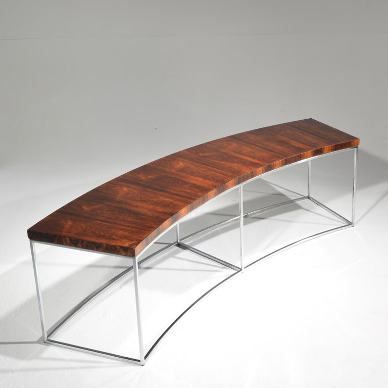 American Milo Baughman Rosewood and Steel Circular Bench or Table For Sale