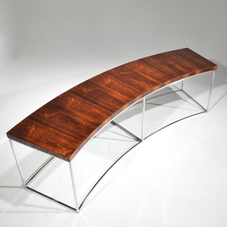 Milo Baughman Rosewood and Steel Circular Bench or Table In Good Condition For Sale In Los Angeles, CA