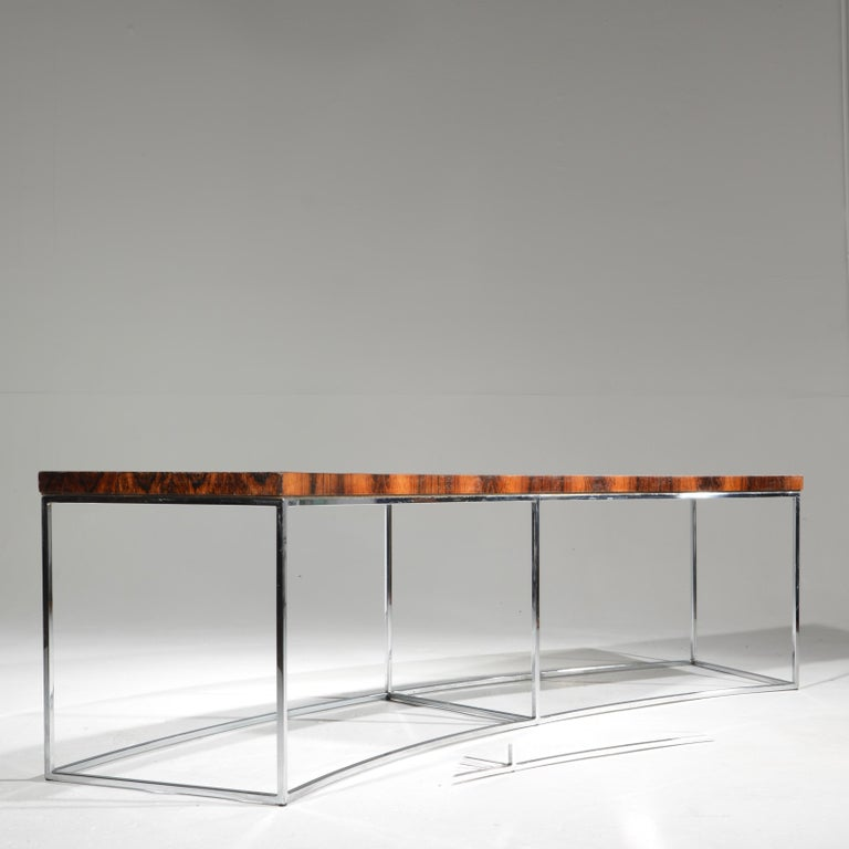 Late 20th Century Milo Baughman Rosewood and Steel Circular Bench or Table For Sale