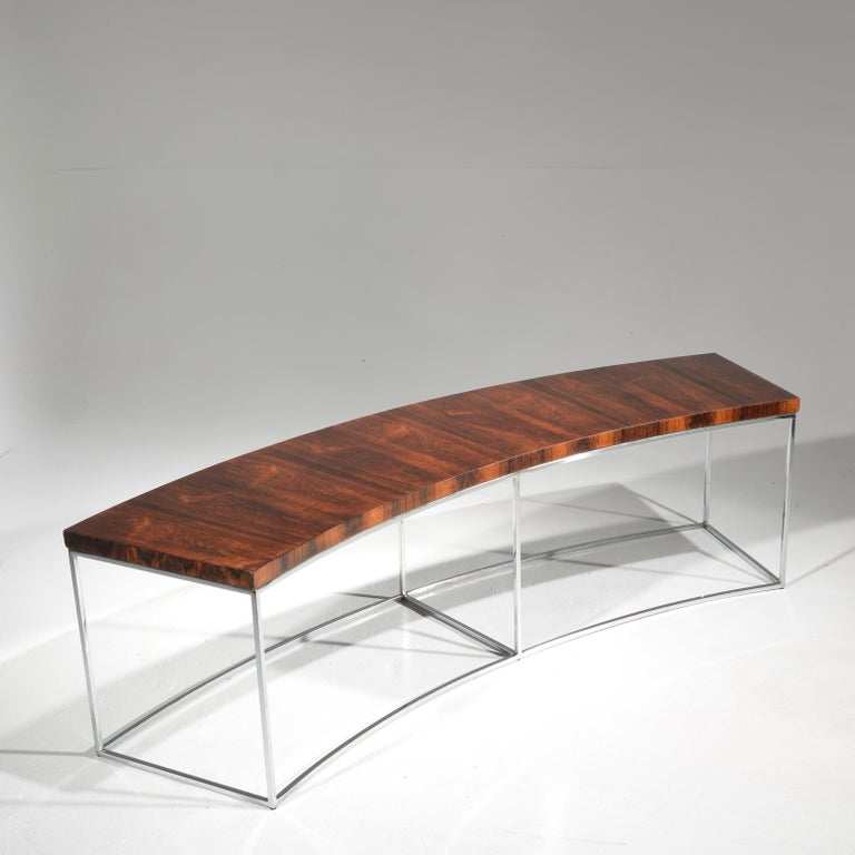 Chrome Milo Baughman Rosewood and Steel Circular Bench or Table For Sale