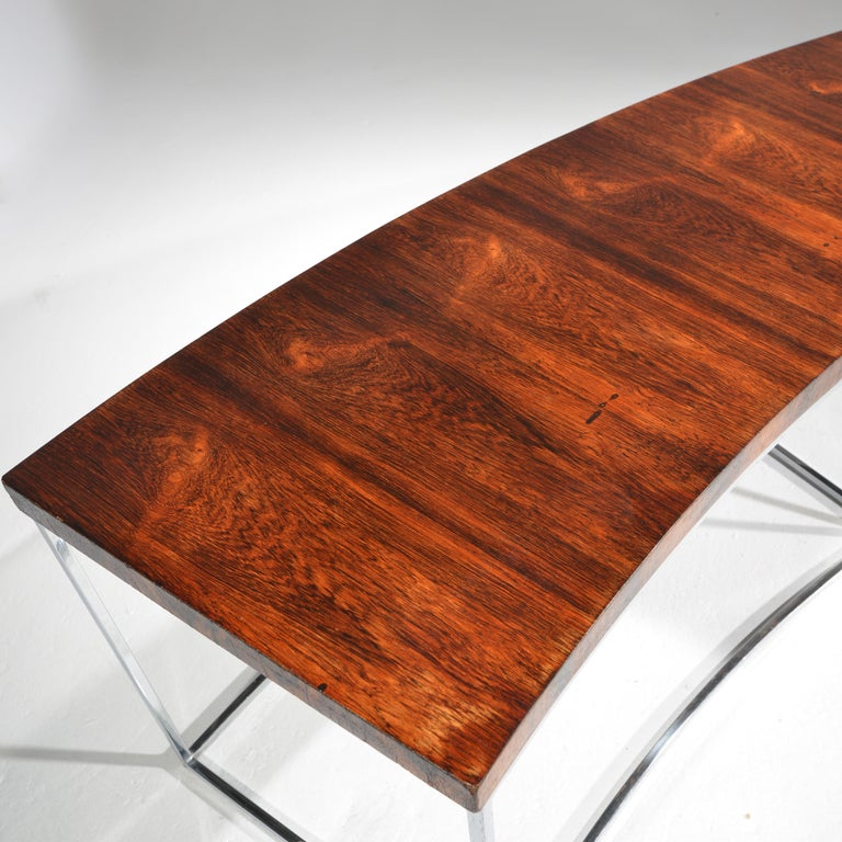 Milo Baughman Rosewood and Steel Circular Bench or Table For Sale 1