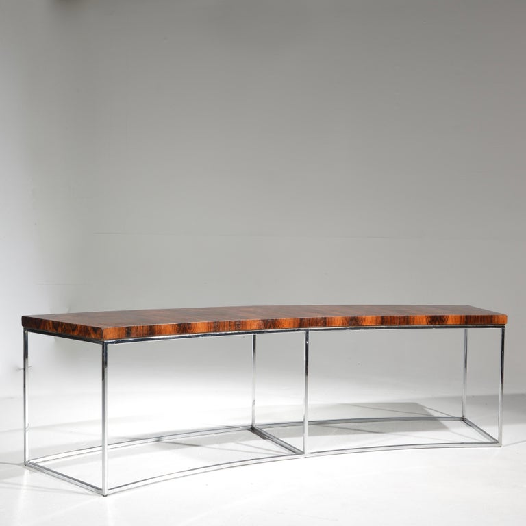 Milo Baughman Rosewood and Steel Circular Bench or Table For Sale 2