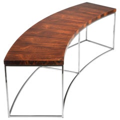Milo Baughman Rosewood and Steel Circular Bench or Table