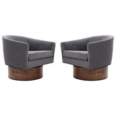 Milo Baughman Rosewood Base Swivel Chairs in Mohair