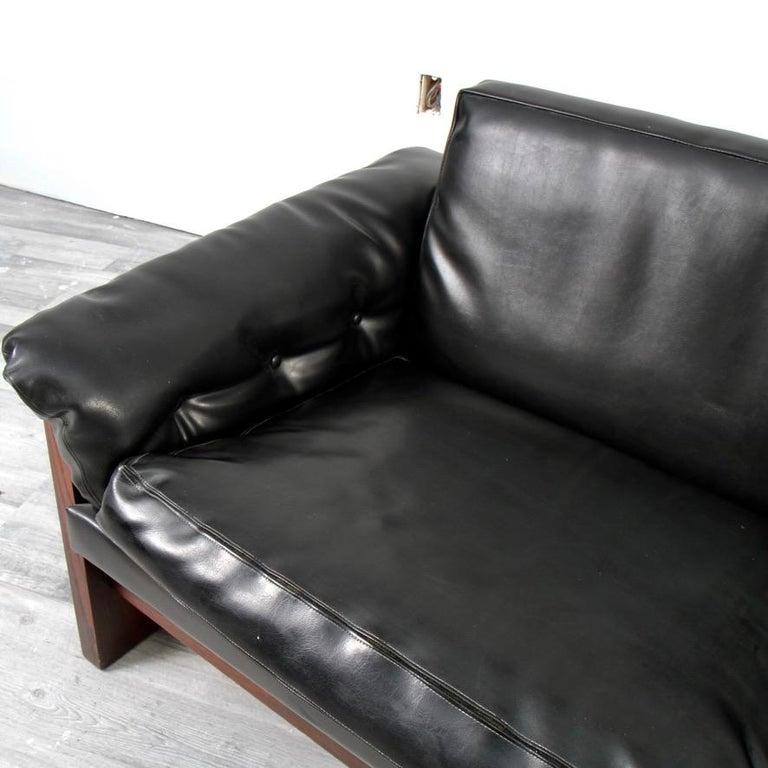 Mid-Century Modern Milo Baughman Rosewood and Naugahyde Case Sofa for Thayer Coggin