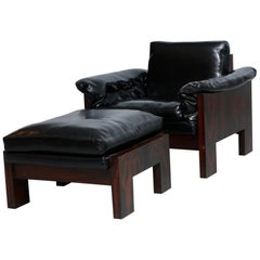 Milo Baughman Rosewood Lounge Chair and Ottoman by Thayer Coggin