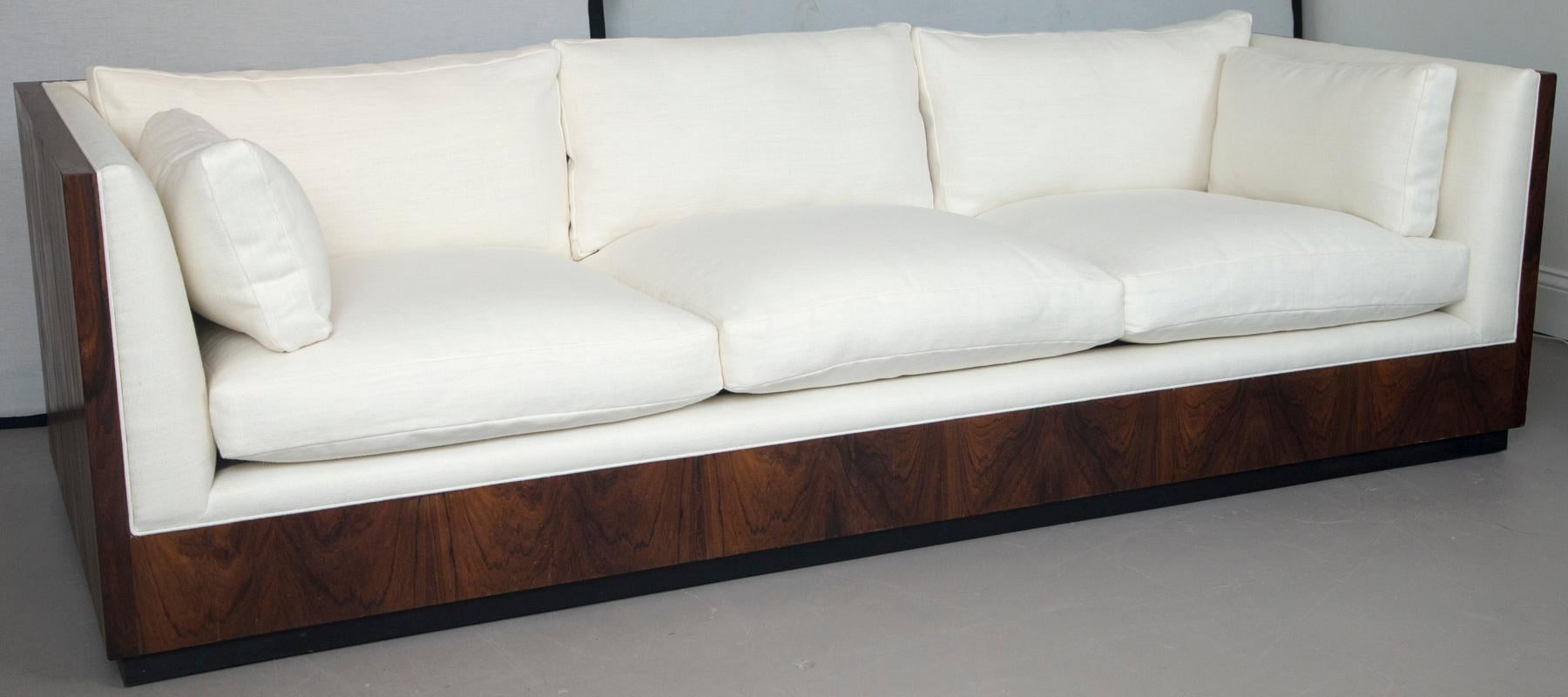Tremendous Milo Baughman Rosewood Sofa Newly Upholstered In Belgian White Linen Gmtry Best Dining Table And Chair Ideas Images Gmtryco