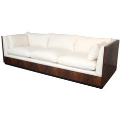 Milo Baughman Rosewood Sofa Newly Upholstered in Belgian White Linen