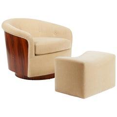 Milo Baughman Rosewood Swivel Chair with Ottoman