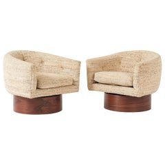 Milo Baughman Rosewood Swivel Chairs