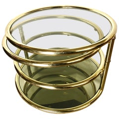 Milo Baughman Round Disc Four Tiered Brass and Glass Floating Cocktail Table DIA