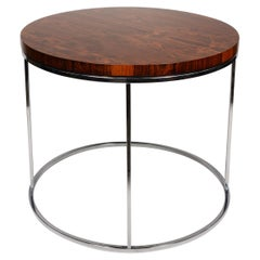 Milo Baughman Round Rosewood and Chrome Side Table