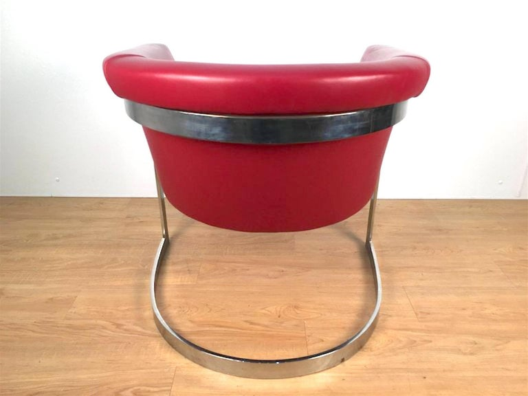 Mid-Century Modern John Stuart Style Rounded Lounge Chair in Custom Red Leather For Sale