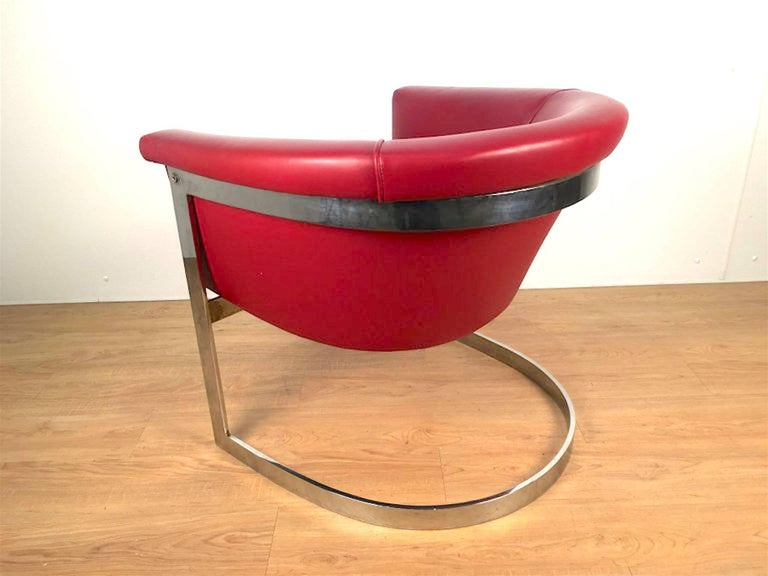 American John Stuart Style Rounded Lounge Chair in Custom Red Leather For Sale