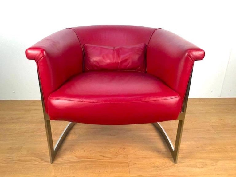 Polished John Stuart Style Rounded Lounge Chair in Custom Red Leather For Sale