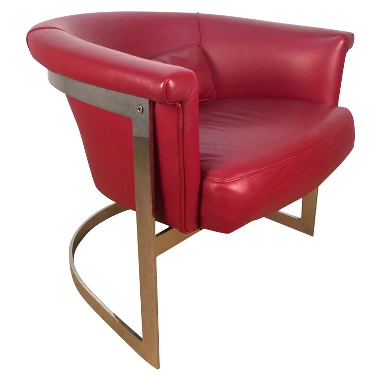 John Stuart Style Rounded Lounge Chair in Custom Red Leather For Sale