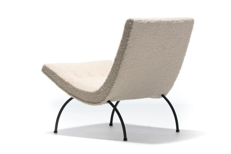 American Milo Baughman Scoop Chair in Super Soft Ivory Bouclé with Iron Legs c. 1950s  For Sale