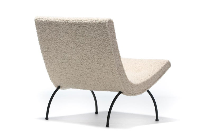 Mid-20th Century Milo Baughman Scoop Chair in Super Soft Ivory Bouclé with Iron Legs c. 1950s  For Sale