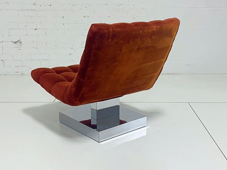 American Milo Baughman Scoop Chair on Chrome Base