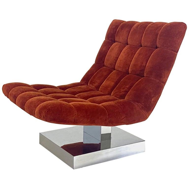 Milo Baughman Scoop Chair on Chrome Base
