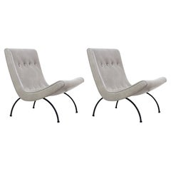 """Milo Baughman """"Scoop"""" Leather & Iron Lounge Chairs for Thayer Coggin"""