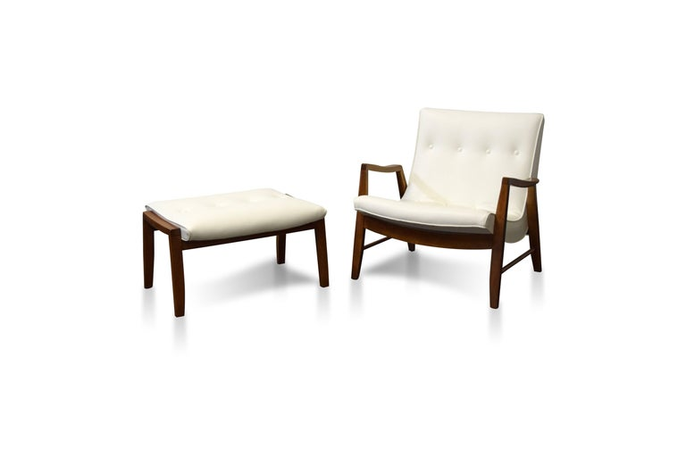 Milo Baughman scoop lounge chair and ottoman.