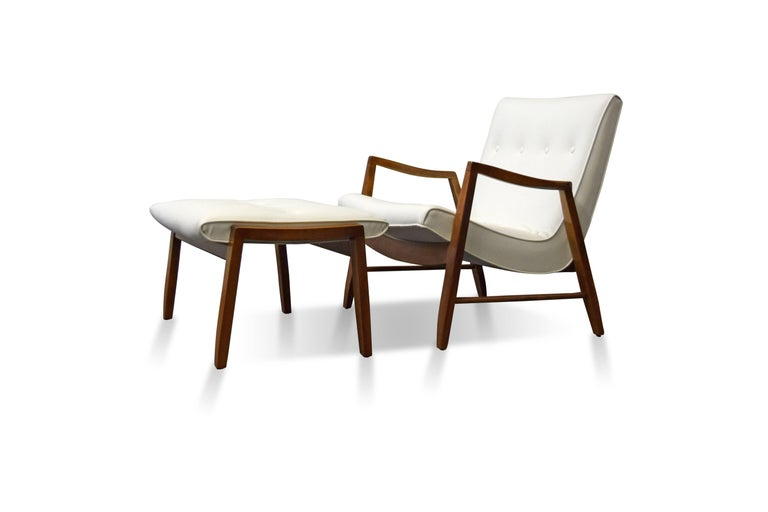 American Milo Baughman Scoop Lounge Chair and Ottoman For Sale