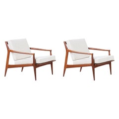 Milo Baughman Sculpted Walnut Lounge Chairs for Thayer Coggin