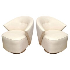 Milo Baughman Sculptural Swivel Lounge or Side Chairs Vintage
