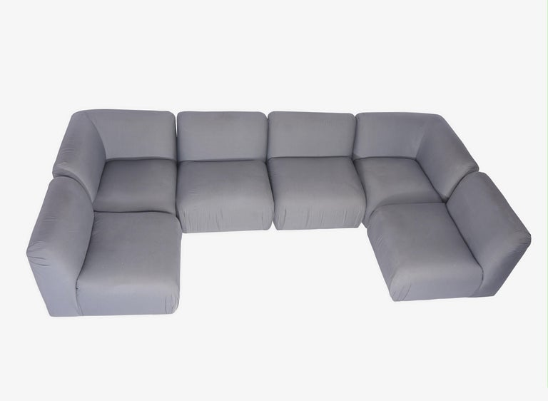 6-piece sectional sofa by Milo Baughman for Thayer-Coggin. Re-upholstery recommended.  Each section is 32