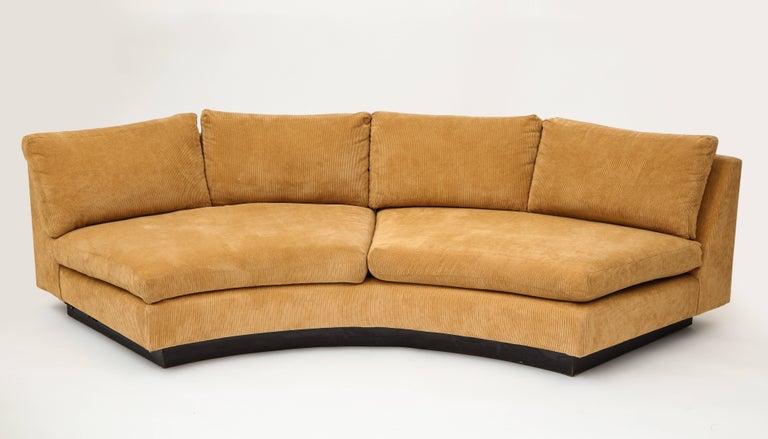 Mid-Century Modern Milo Baughman Semi Circular Two-Piece Sofa Caramel Corduroy Upholstery, 1980s For Sale