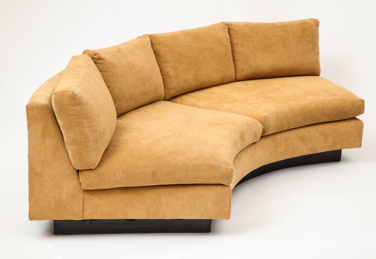 American Milo Baughman Semi Circular Two-Piece Sofa Caramel Corduroy Upholstery, 1980s For Sale