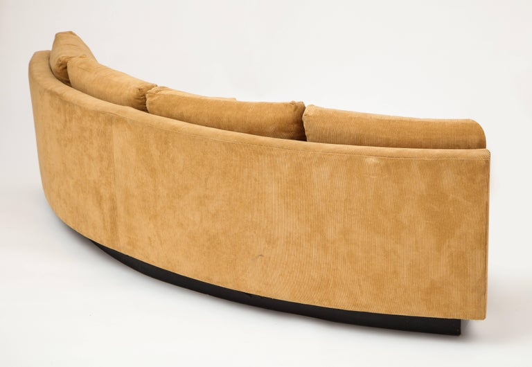 Milo Baughman Semi Circular Two-Piece Sofa Caramel Corduroy Upholstery, 1980s In Good Condition For Sale In New York, NY