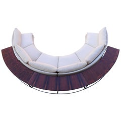 Milo Baughman Curved Sectional Sofa in Off-White with Rosewood Tables