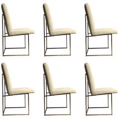 Milo Baughman Set of 6 Bronze Finish Dining Chairs