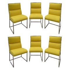 Milo Baughman Set of 6 Dining Chairs in Polished Chrome, 1970s